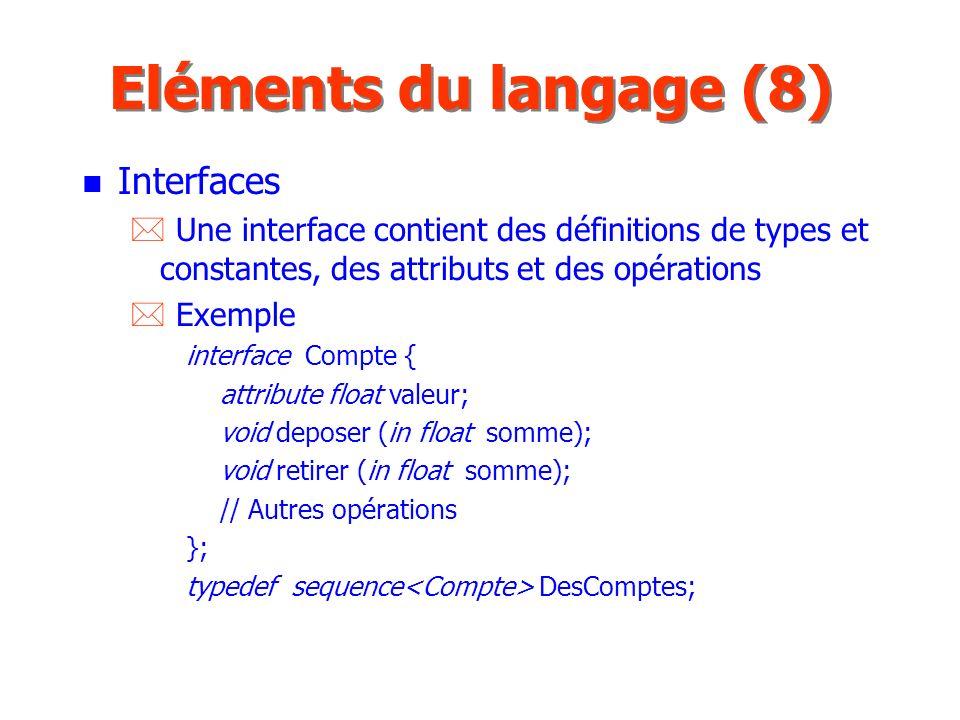 Eléments du langage (8) Interfaces