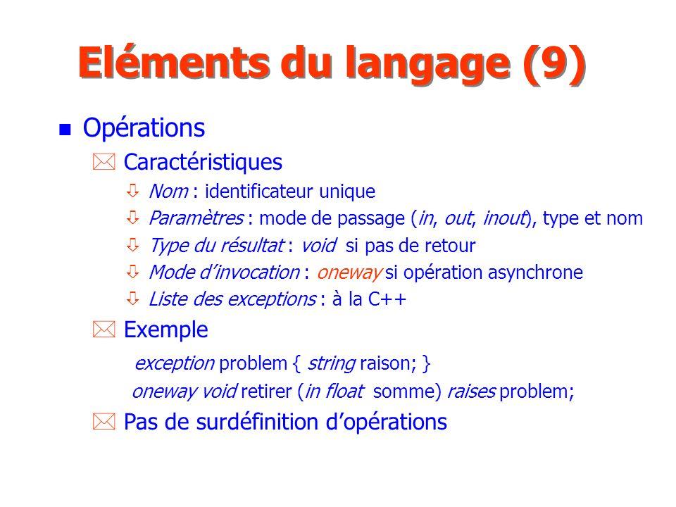 Eléments du langage (9) Opérations Caractéristiques Exemple