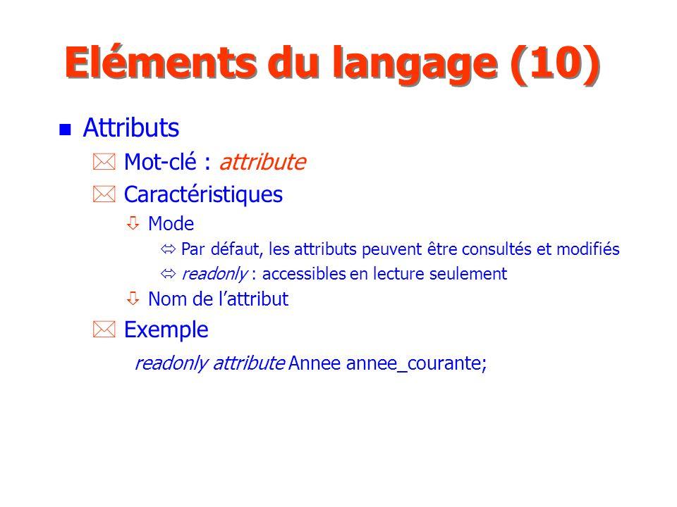 Eléments du langage (10) Attributs Mot-clé : attribute