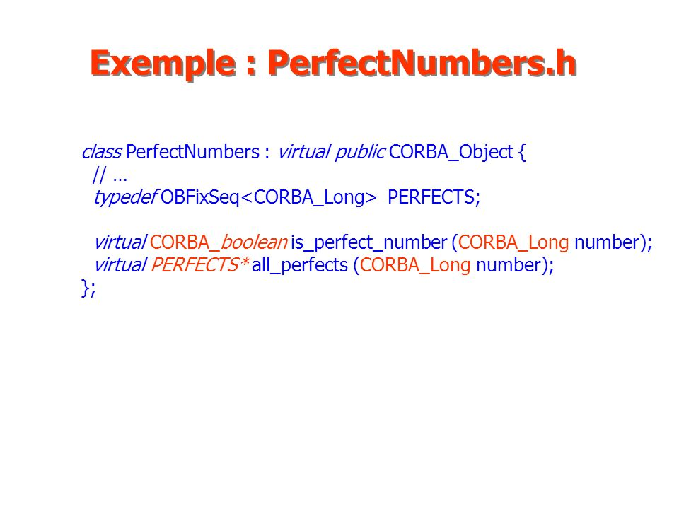 Exemple : PerfectNumbers.h