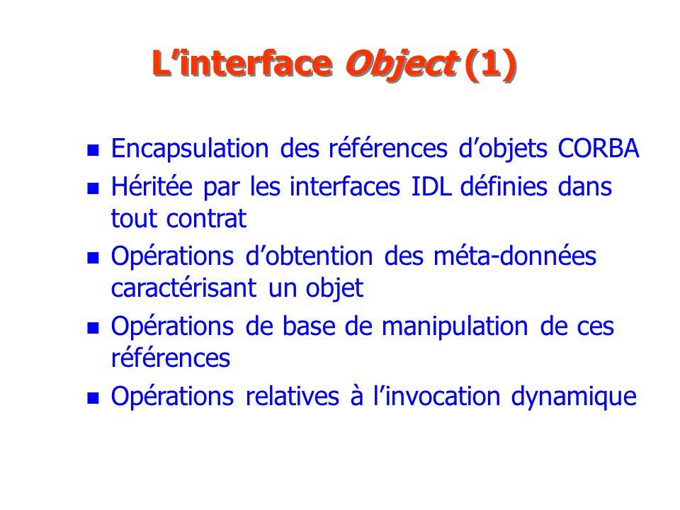 L'interface Object (1) Encapsulation des références d'objets CORBA