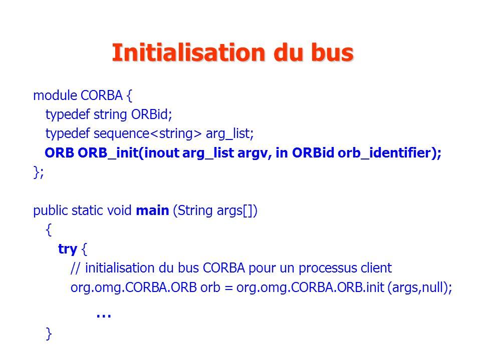 Initialisation du bus module CORBA { typedef string ORBid;