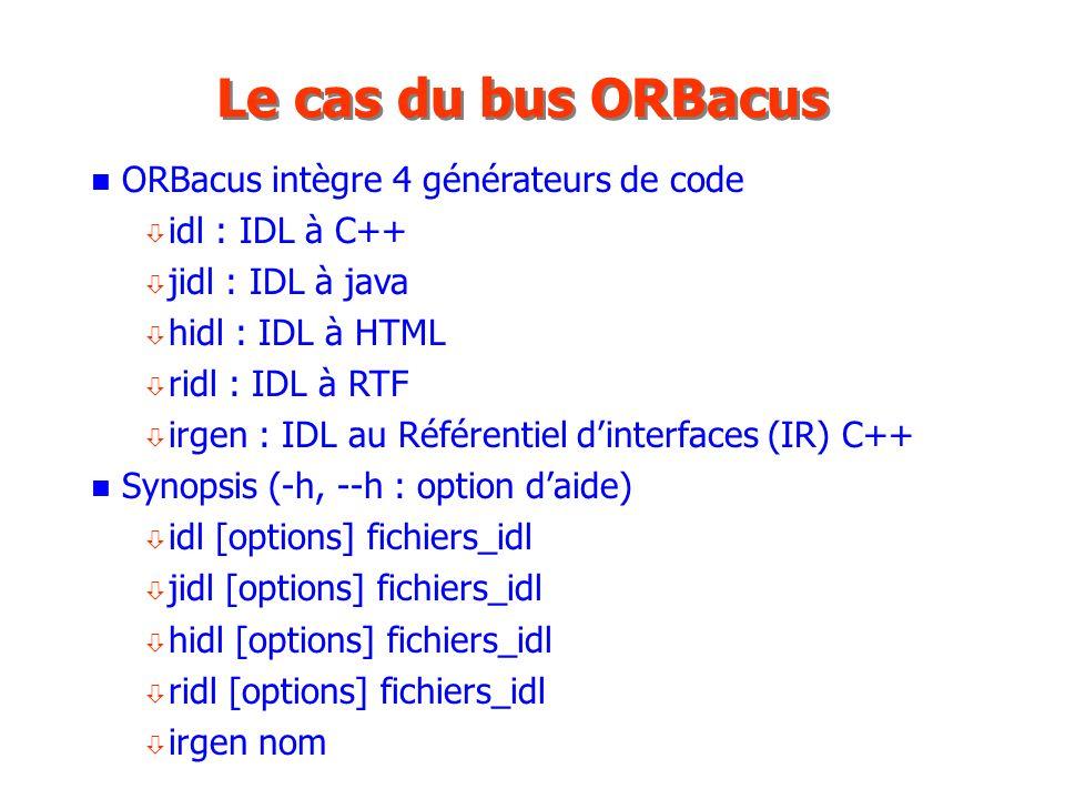 Le cas du bus ORBacus ORBacus intègre 4 générateurs de code