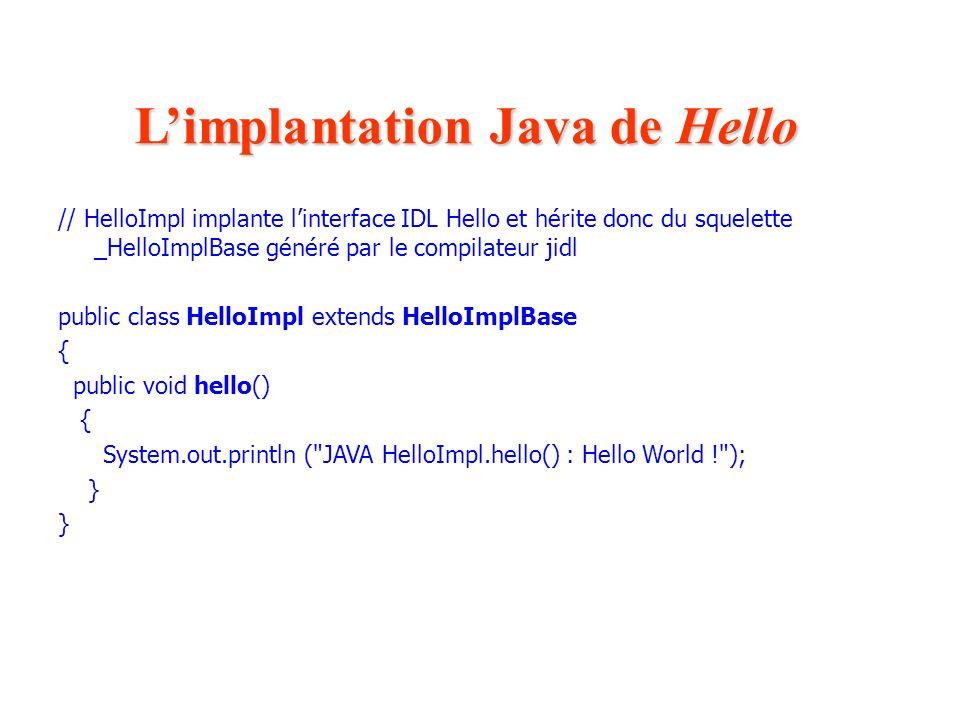 L'implantation Java de Hello