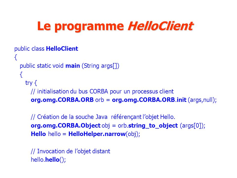 Le programme HelloClient