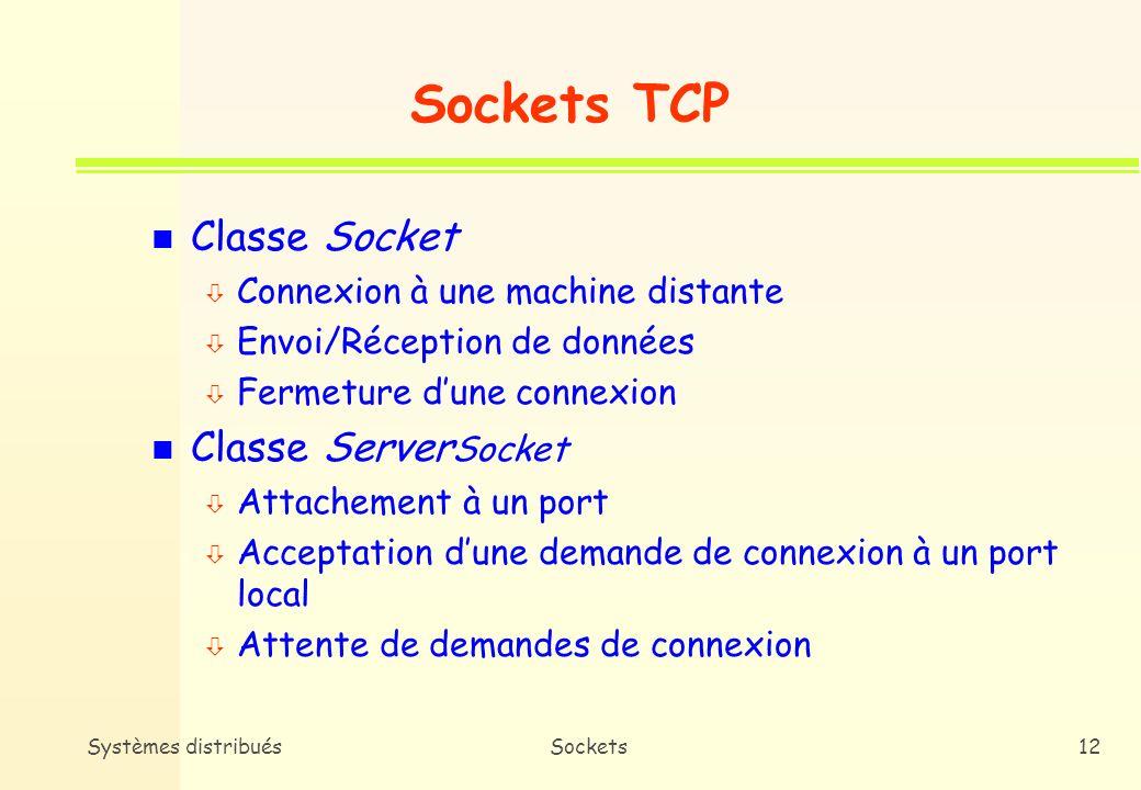 Sockets TCP Classe Socket Classe ServerSocket