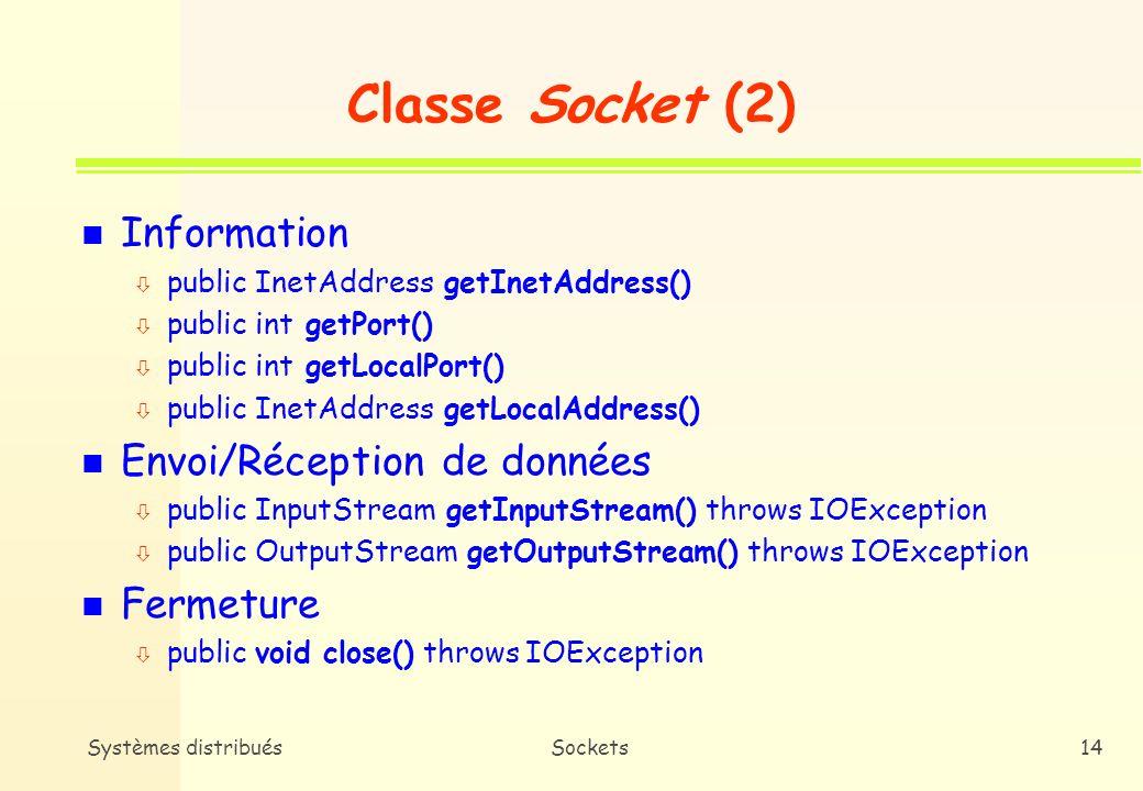 Classe Socket (2) Information Envoi/Réception de données Fermeture