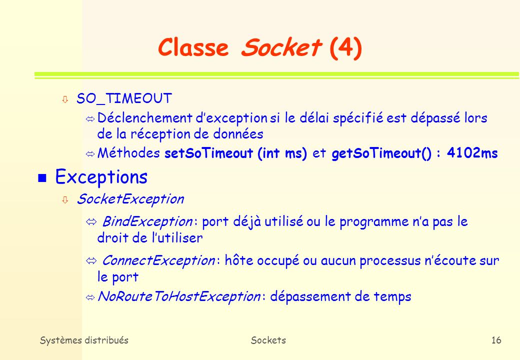 Classe Socket (4) Exceptions