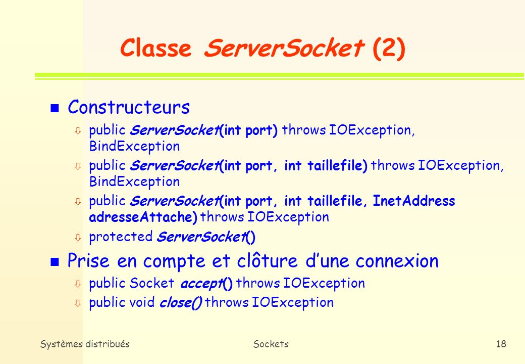 Classe ServerSocket (2)