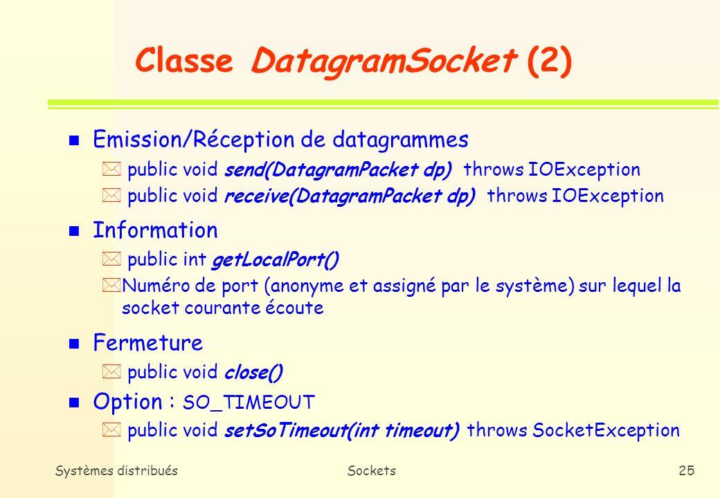 Classe DatagramSocket (2)