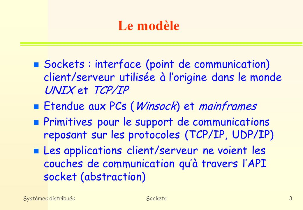 Le modèle Sockets : interface (point de communication) client/serveur utilisée à l'origine dans le monde UNIX et TCP/IP.