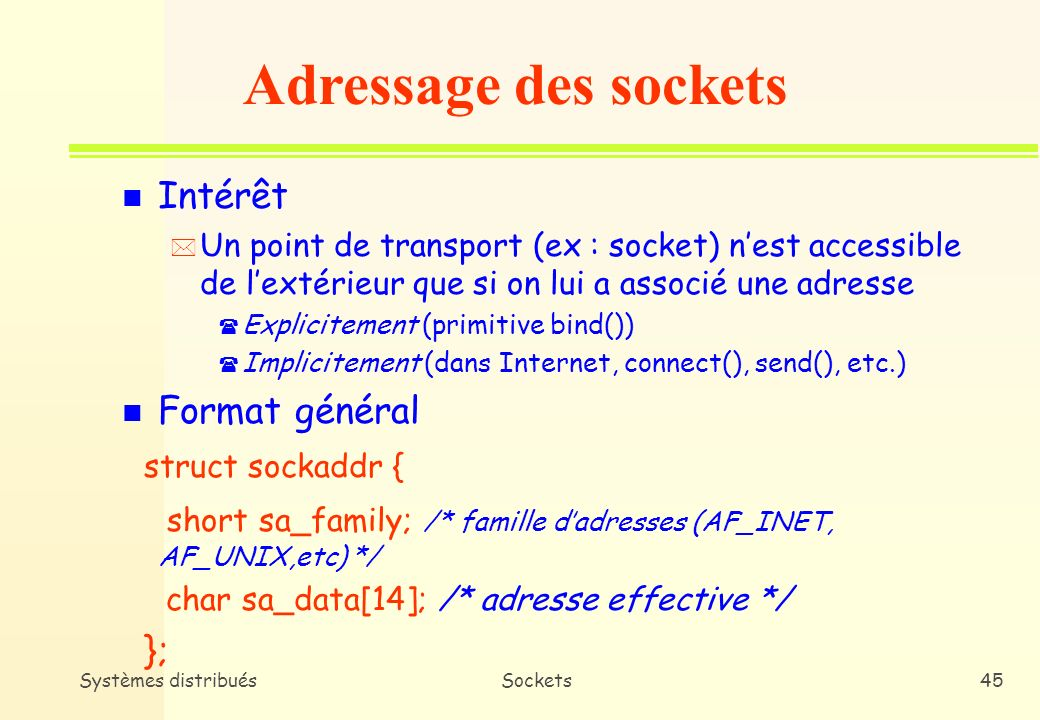 Adressage des sockets Intérêt Format général struct sockaddr {