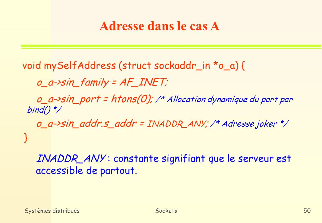Adresse dans le cas A void mySelfAddress (struct sockaddr_in *o_a) {