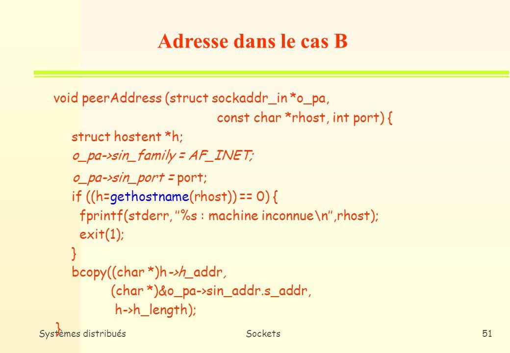 Adresse dans le cas B void peerAddress (struct sockaddr_in *o_pa,