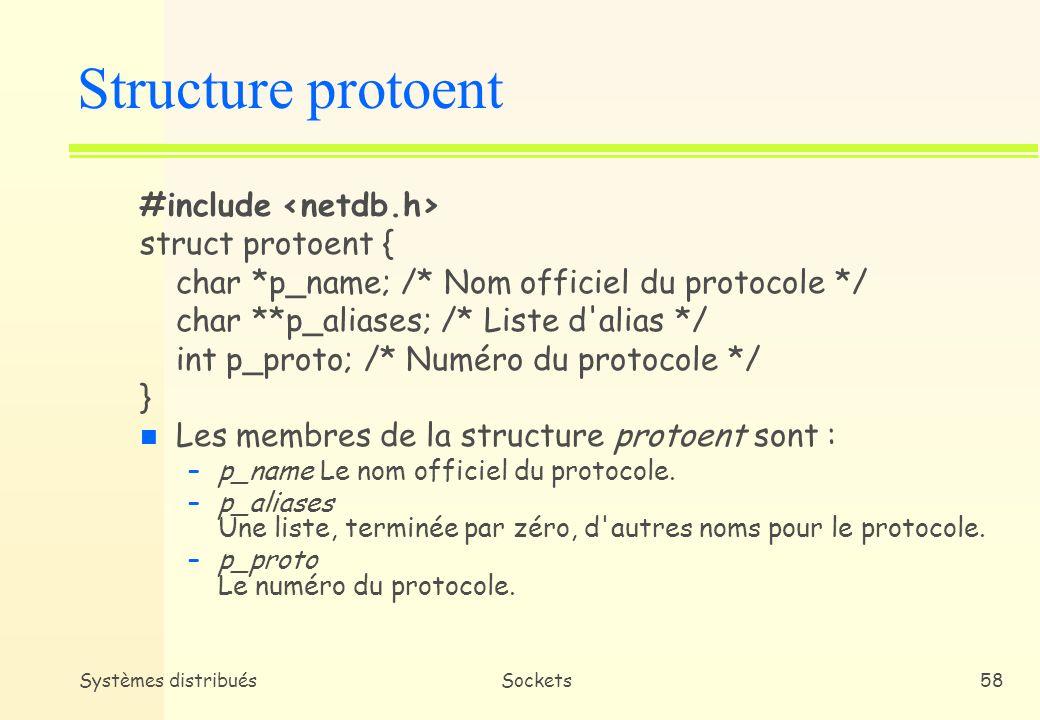 Structure protoent #include <netdb.h> struct protoent {