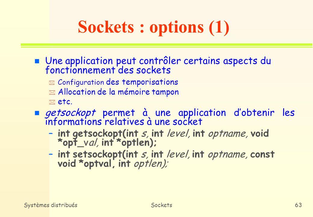 Sockets : options (1) Une application peut contrôler certains aspects du fonctionnement des sockets.