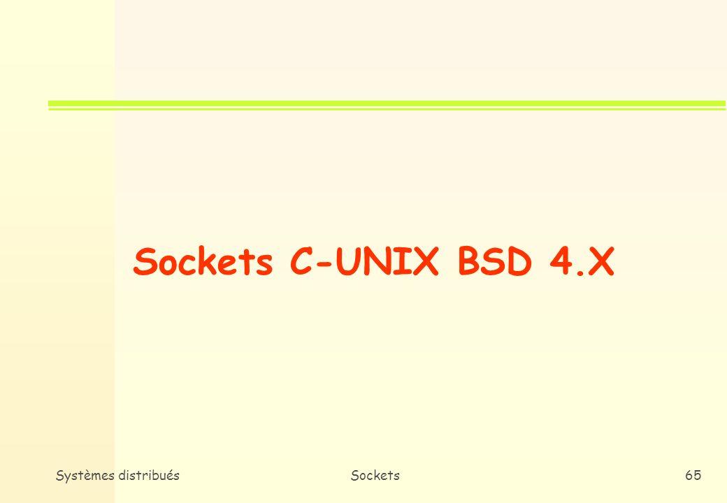 Sockets C-UNIX BSD 4.X Systèmes distribués Sockets