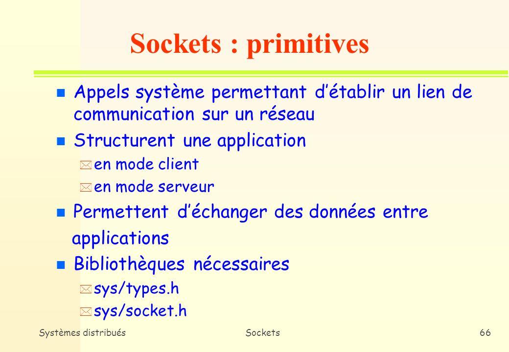 Sockets : primitives Appels système permettant d'établir un lien de communication sur un réseau. Structurent une application.