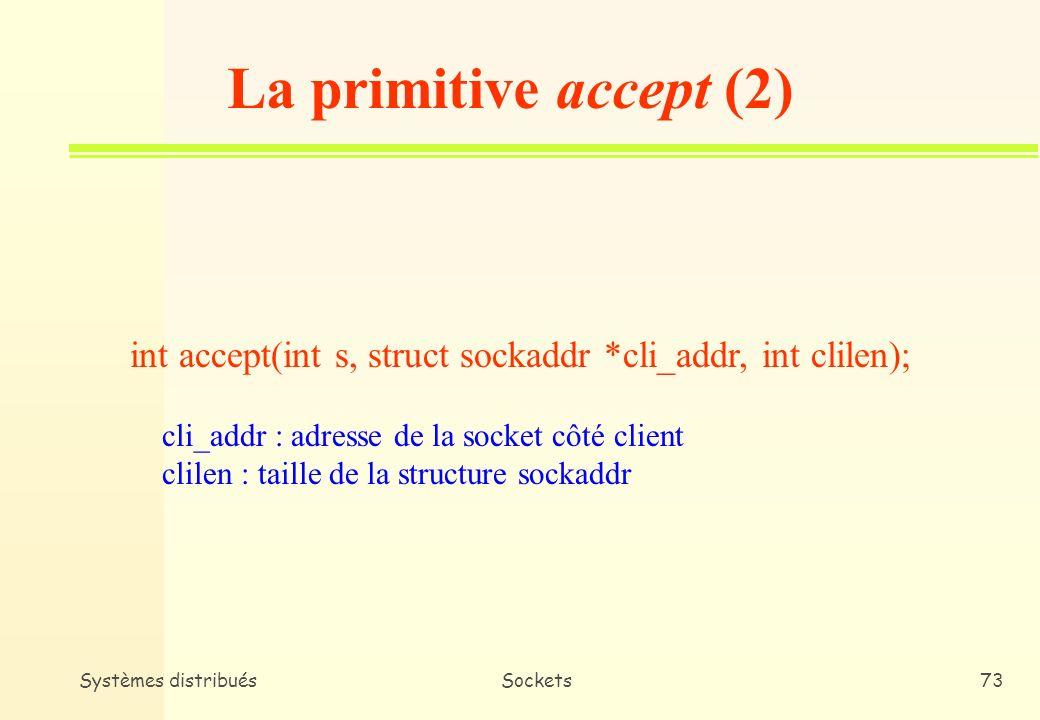La primitive accept (2) int accept(int s, struct sockaddr *cli_addr, int clilen); cli_addr : adresse de la socket côté client.