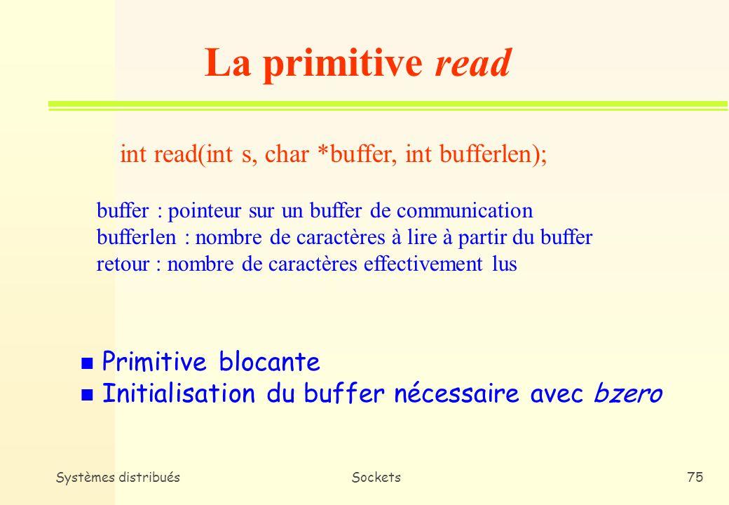 La primitive read int read(int s, char *buffer, int bufferlen);