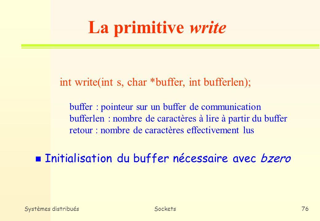 La primitive write int write(int s, char *buffer, int bufferlen);