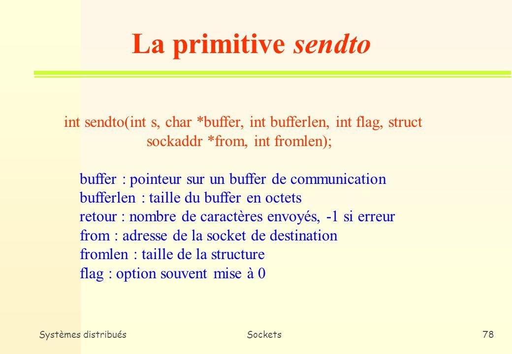 La primitive sendto int sendto(int s, char *buffer, int bufferlen, int flag, struct. sockaddr *from, int fromlen);