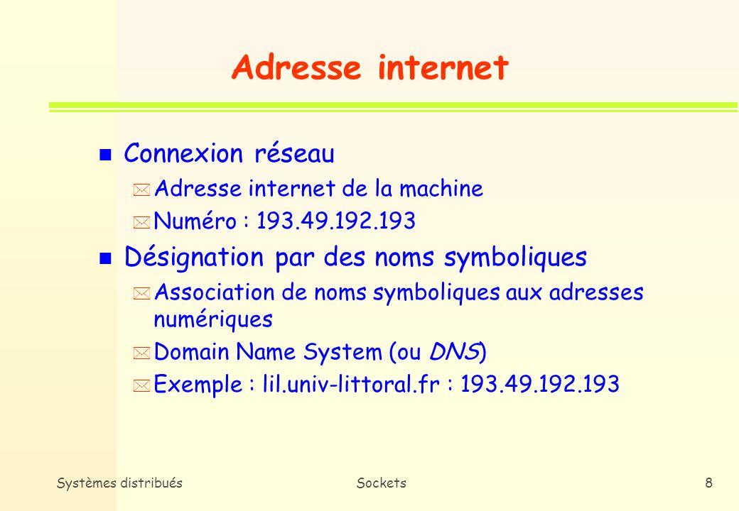 Adresse internet Connexion réseau Désignation par des noms symboliques