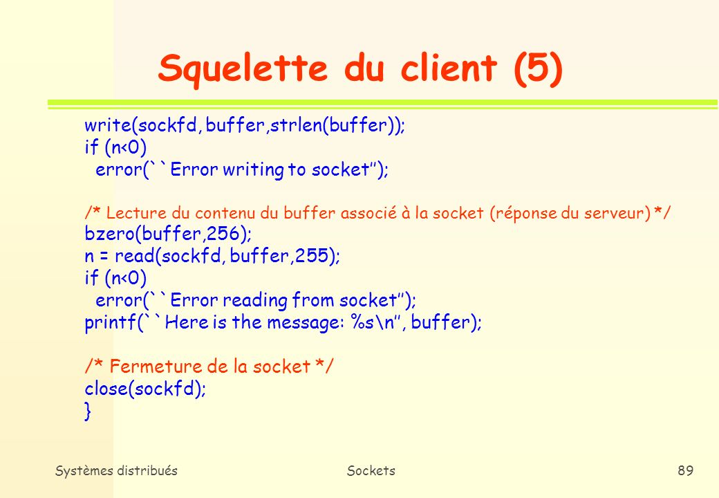 Squelette du client (5) write(sockfd, buffer,strlen(buffer));