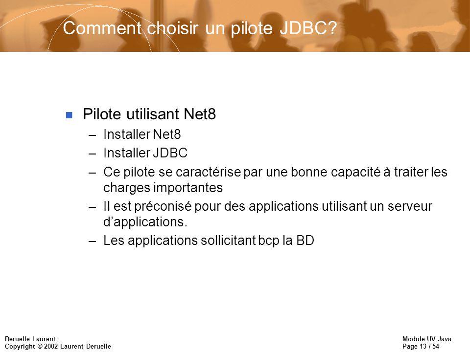 Comment choisir un pilote JDBC