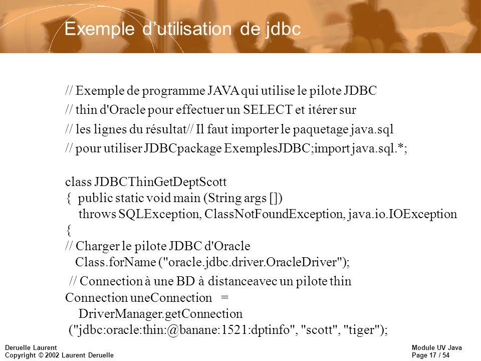 Exemple d'utilisation de jdbc