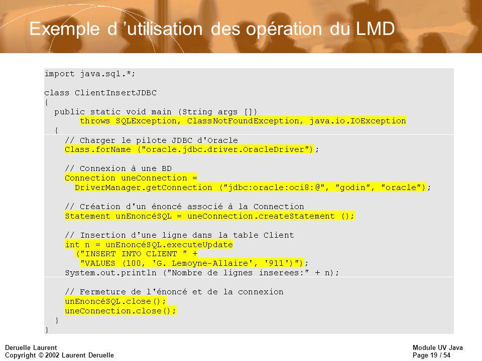 Exemple d 'utilisation des opération du LMD