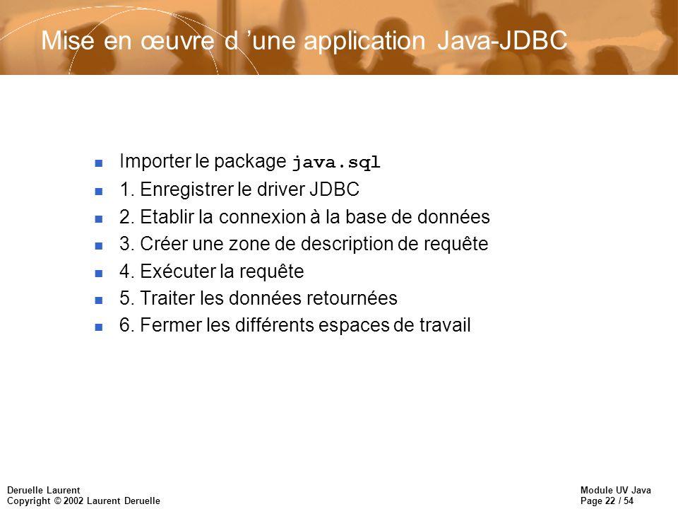 Mise en œuvre d 'une application Java-JDBC
