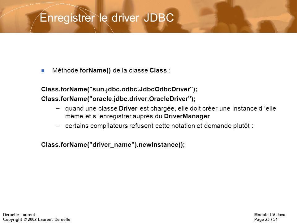 Enregistrer le driver JDBC