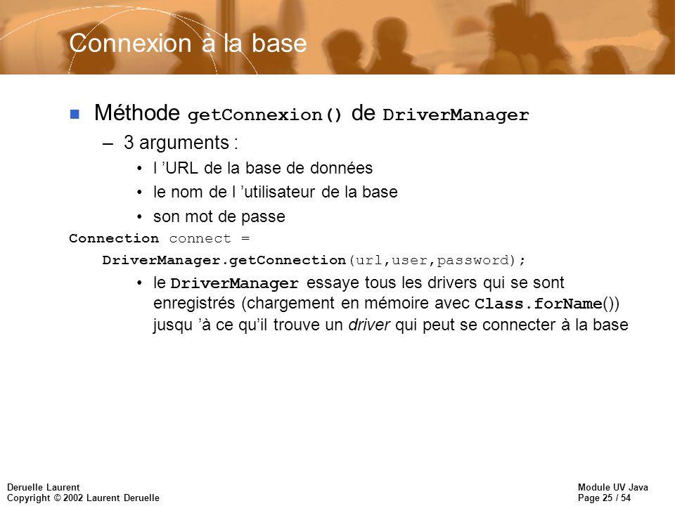 Connexion à la base Méthode getConnexion() de DriverManager