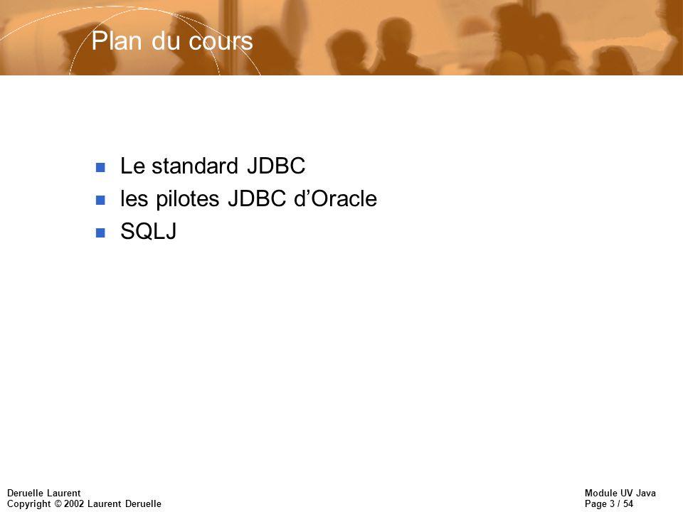 Plan du cours Le standard JDBC les pilotes JDBC d'Oracle SQLJ