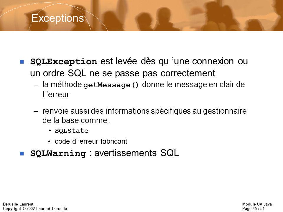 Exceptions SQLException est levée dès qu 'une connexion ou un ordre SQL ne se passe pas correctement.