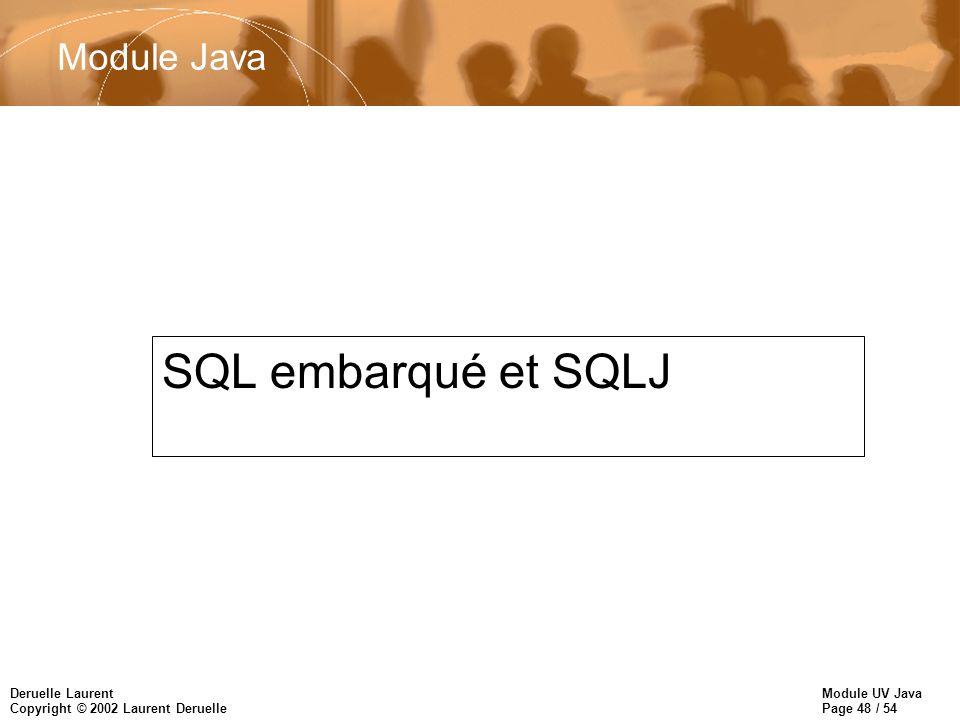 Module Java SQL embarqué et SQLJ