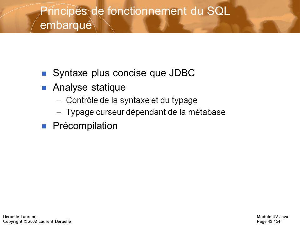 Principes de fonctionnement du SQL embarqué