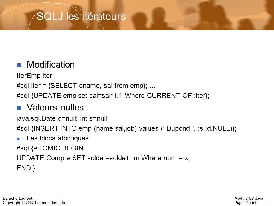 SQLJ les itérateurs Modification Valeurs nulles IterEmp iter;