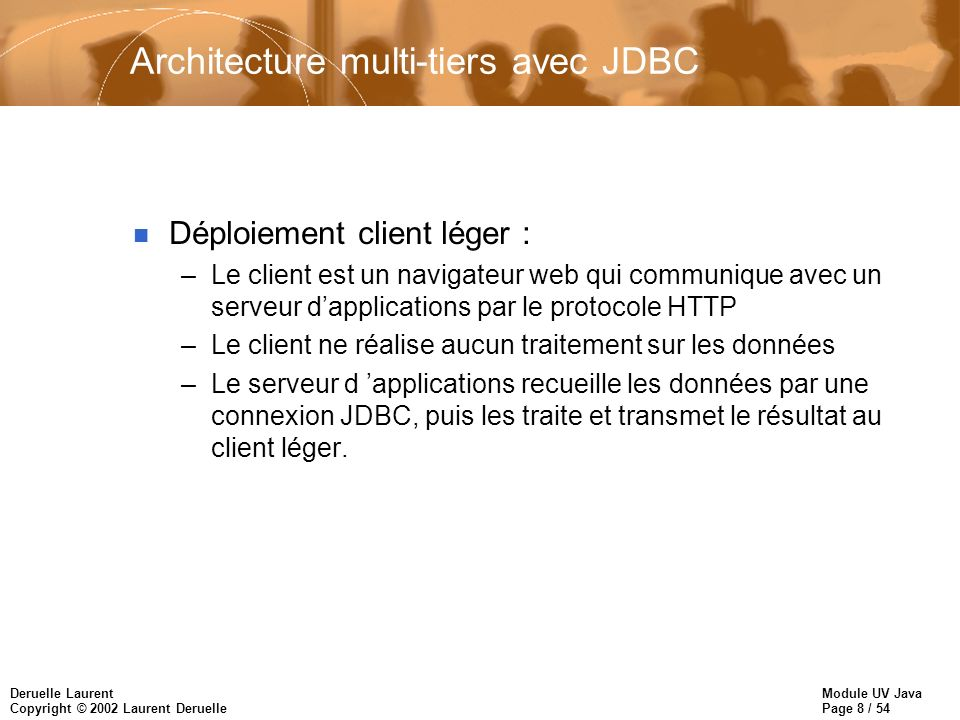 Architecture multi-tiers avec JDBC