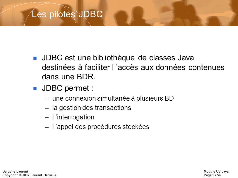 Les pilotes JDBC JDBC est une bibliothèque de classes Java destinées à faciliter l 'accès aux données contenues dans une BDR.