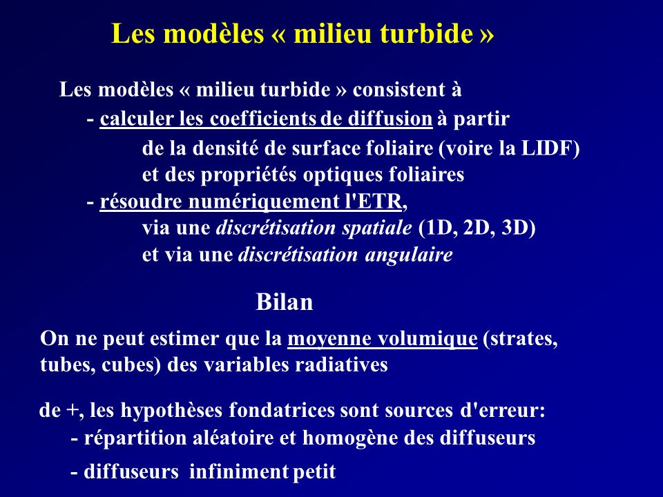Les modèles « milieu turbide »