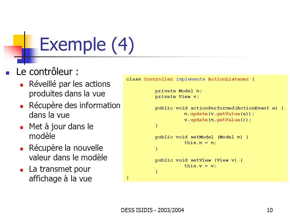 Exemple (4) Le contrôleur :