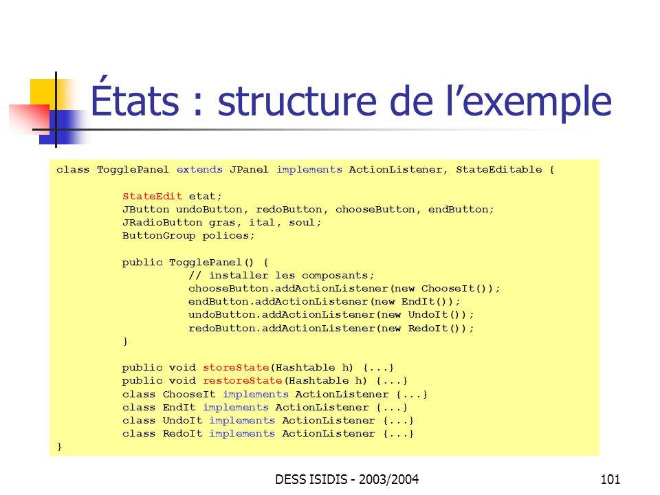 États : structure de l'exemple