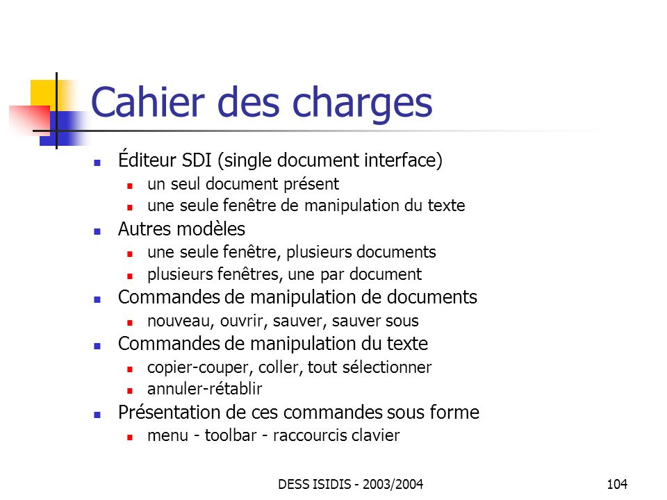 Cahier des charges Éditeur SDI (single document interface)