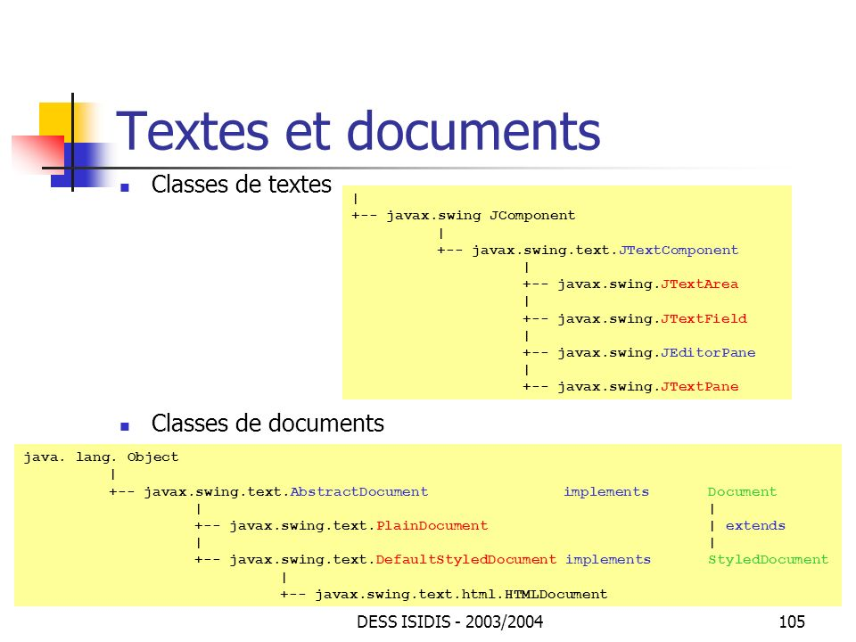 Textes et documents Classes de textes Classes de documents
