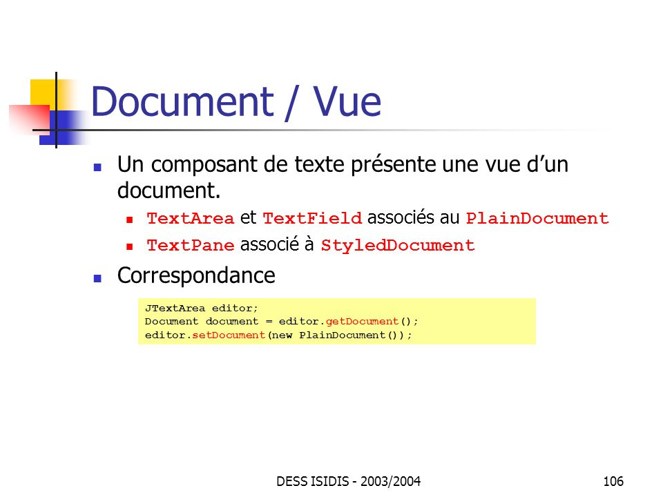 Document / Vue Un composant de texte présente une vue d'un document.