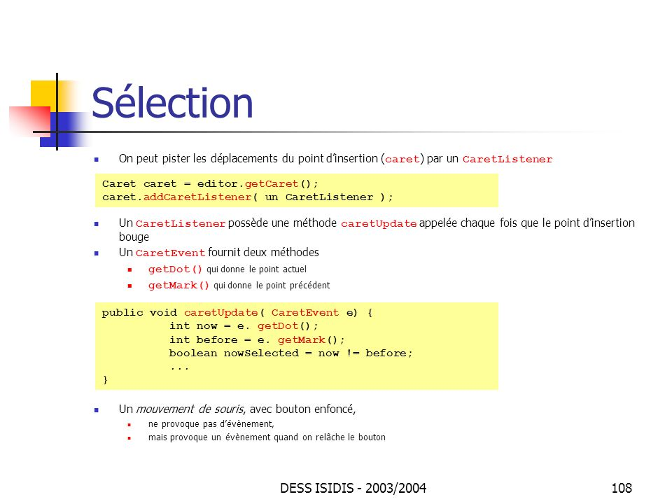 Sélection DESS ISIDIS - 2003/2004
