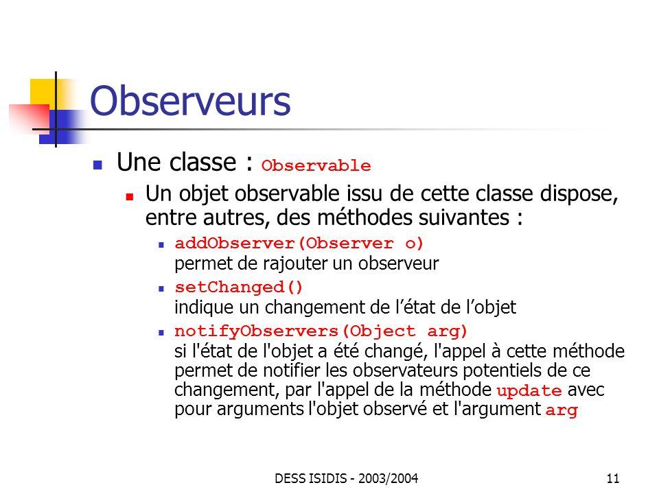 Observeurs Une classe : Observable