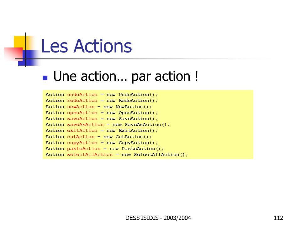 Les Actions Une action… par action ! DESS ISIDIS - 2003/2004